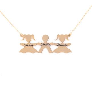 collana phy con 3 bimbi in argento placcato oro 18k