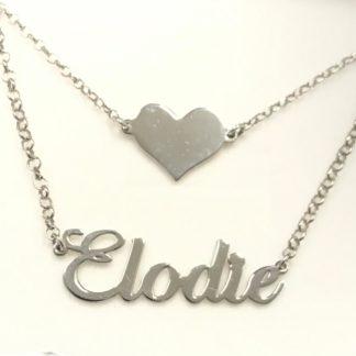 doppia collana con cuore e nome in argento 925