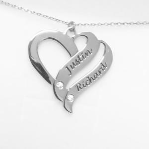 collana phy con doppio cuore in argento 925