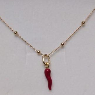 collana con ciondolo portafortuna in argento placcato oro