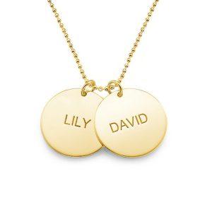 Collana-con-coppia-di-dischi-incisi-con-nome-in-argento-placcato-oro-18k_phy gioielli