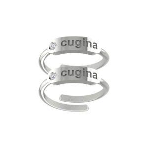 """Coppia anelli """"cugina"""" in argento 925 con zircone"""