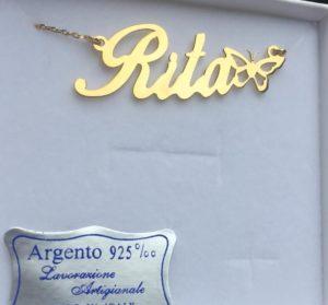 collana con nome e farfalla in argento placcato oro 18k phy gioielli