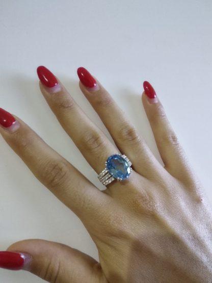anello argento donna acquamarina