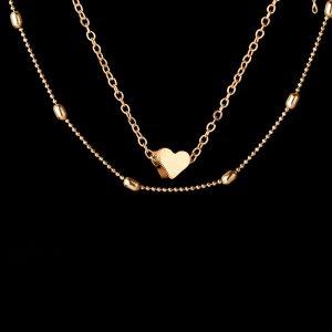 doppia collana con ciondolo cuore