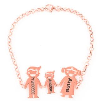 famiglia-stilizzata-1 in argento placcato oro rosa bracciale