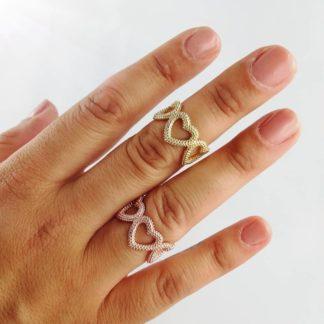 anello cuori borchiati diversi colori