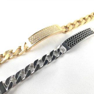 bracciale con targetta zirconata oro